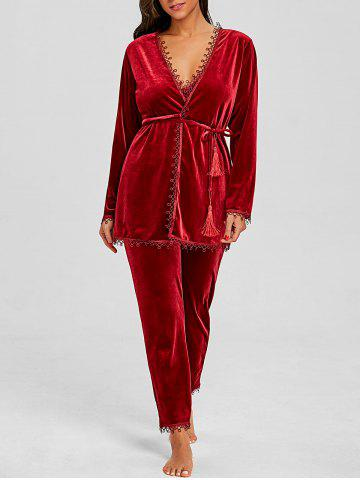 New Lingerie Velvet Chemise Pants and Robe 3 Piece Pajamas