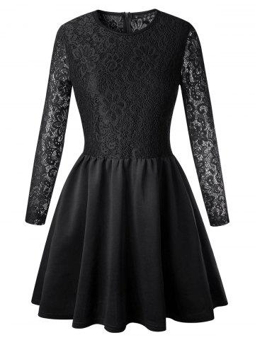 Shop Lace Long Sleeve Skater Dress