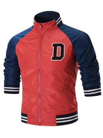Trendy Raglan Sleeve Colo Block Windbreaker Jacket