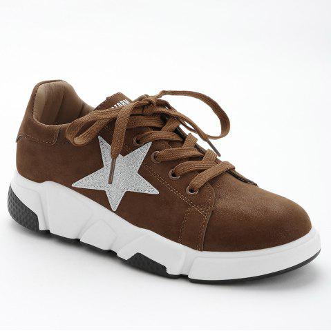 Affordable Casual Star Patched Faux Suede Sneakers