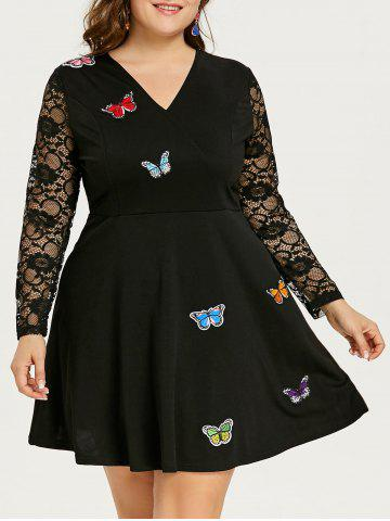 Shops Plus Size Butterfly Lace Skater Dress