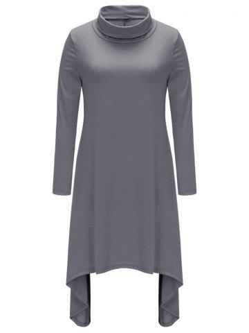 Chic Turtle Neck Asymmetric Casual Dress