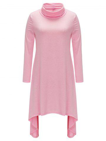 Hot Turtle Neck Asymmetric Casual Dress