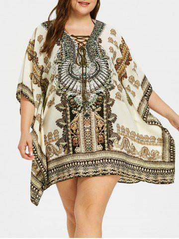 Discount Plus Size Graphic Rectangle Beach Cover Up