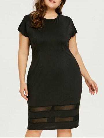 Chic Mesh Panel Knee Length Plus Size Dress