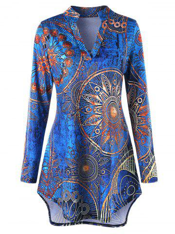 Chic Plus Size High low Ethnic Print Tunic Tee