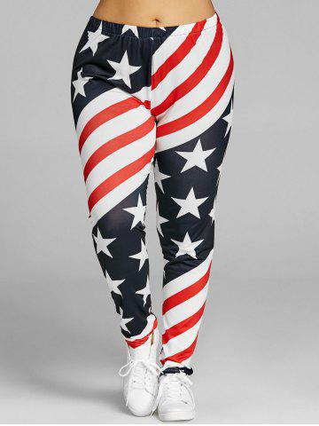 Buy Patriotic American Flag Print Plus Size Leggings