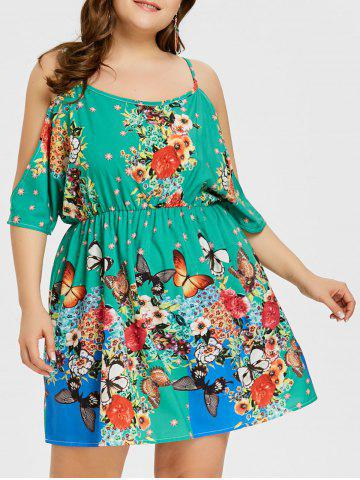 Discount Plus Size Butterfly Flower Print Backless Dress