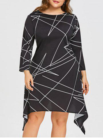 Outfits Plus Size Geometric Print Asymmetric Dress