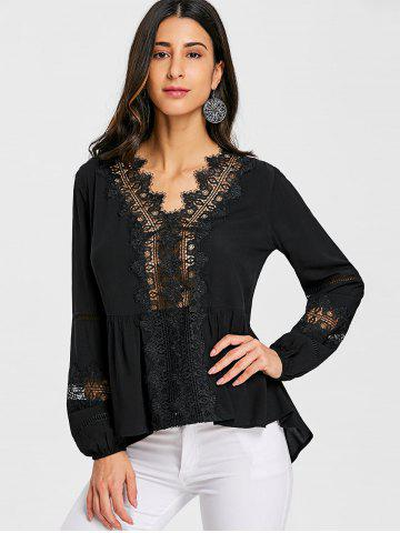 Hollow Out Lace Trimmed Blouse