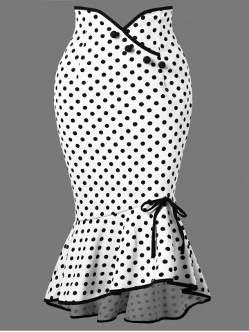 Fashion Polka Dot Midi Fishtail Skirt