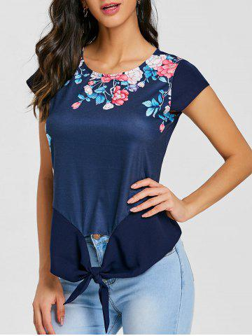 Best Cap Sleeve Front Tie Up Floral Blouse