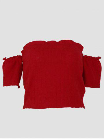 Ribbed Knit Off The Shoulder Crop Top - WINE RED - M