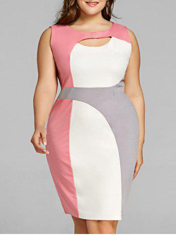 Unique Plus Size Cut Out Color Block Work Dress