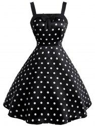 Polka Dot Print Bowknot Embellished Vintage Party Dress -