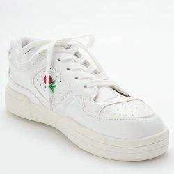 PU Leather Embroidered Sneakers -