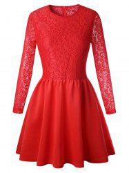 Lace Long Sleeve Skater Dress -