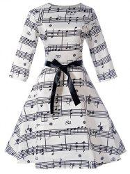 Music Note Bowknot Embellished Swing Dress -