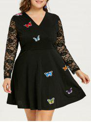 Plus Size Butterfly Lace Skater Dress -