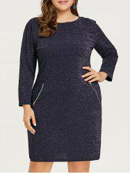Glitter Plus Size Zipper Pockets Dress -