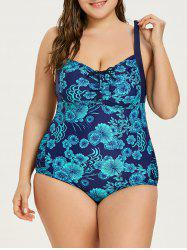 Plus Size Flower Print Backless Swimwear -