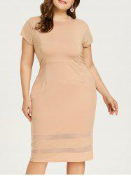 Mesh Panel Knee Length Plus Size Dress -