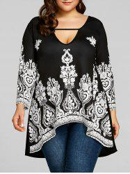 Plus Size Cut Out Floral Print Tee -