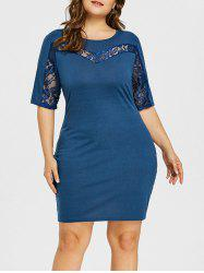 Plus Size Lace Insert Open Back Bodycon Dress -