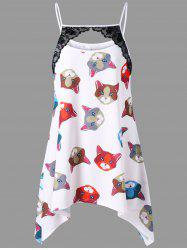 Plus Size Cat Print Crescent Hem Tank Top -