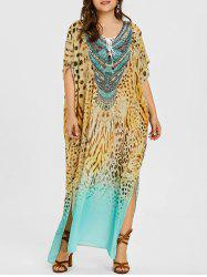 Plus Size Lace Up Leopard Kaftan Dress -