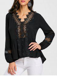 Hollow Out Lace Trimmed Blouse -