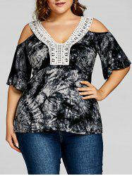 Plus Size Cold Shoulder Tie Dye Top -