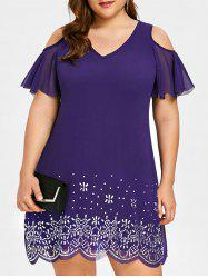 Plus Size Beading Cold Shoulder Chiffon Dress -