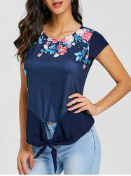 Cap Sleeve Front Tie Up Floral Blouse -