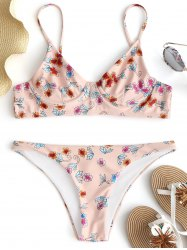 Цветочный Unlined Underwire Bikini Set -