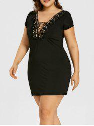 Lace Insert Low Cut Plus Size Nightout Dress -