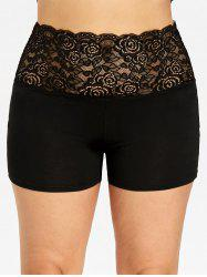 Plus Size Lace Trim Scalloped Edge Safety Shorts -