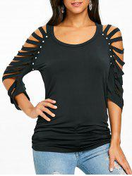 Cut Out Ripped Sleeve T-shirt -