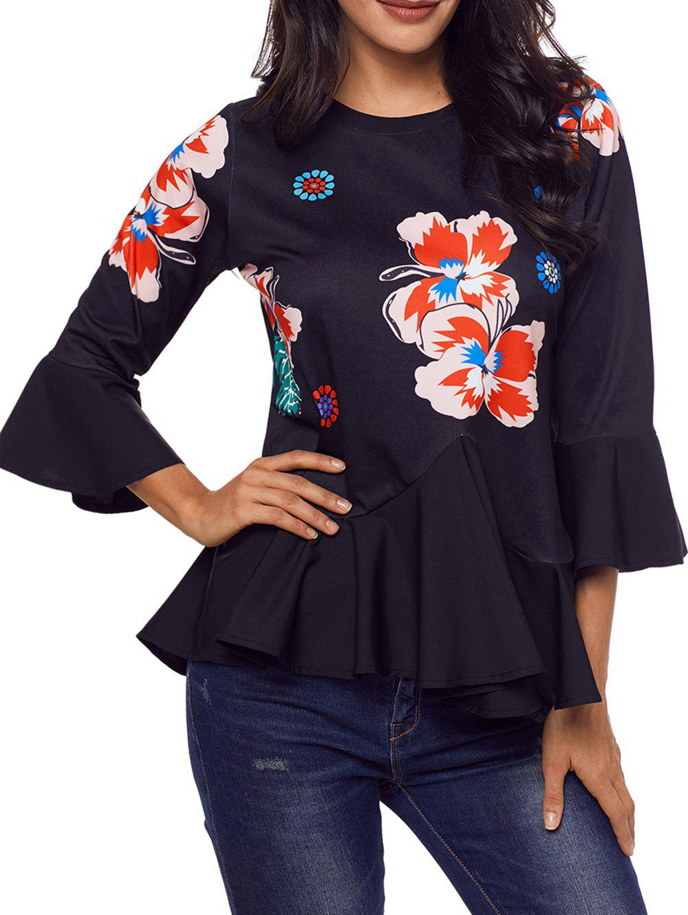Outfits Flare Sleeve Floral Peplum Top
