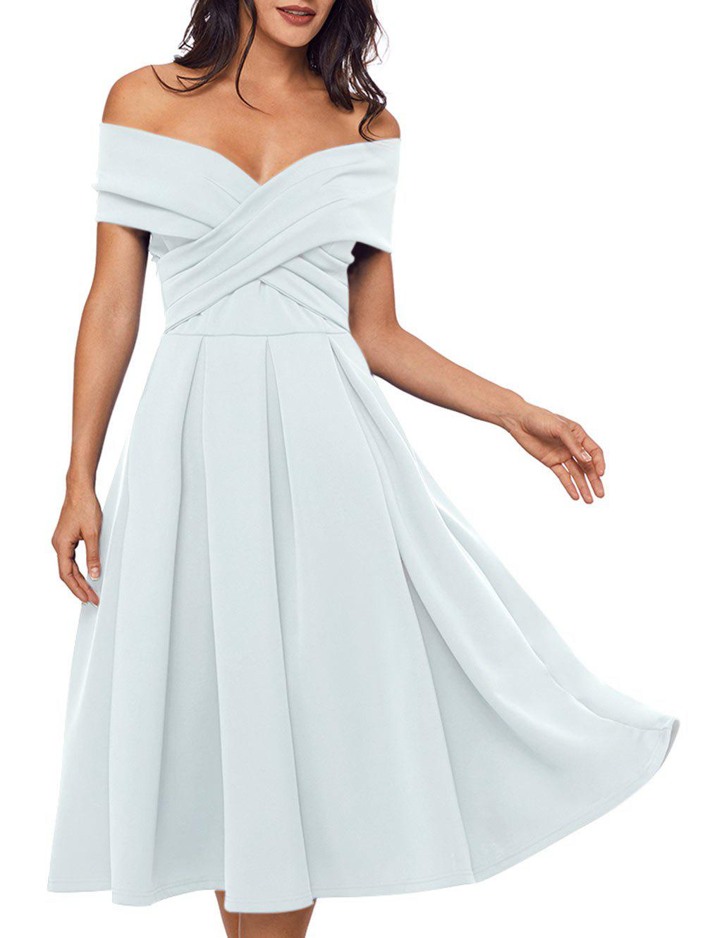 24de9b5ce07 58% OFF  Cross Front Open Shoulder Prom Dress