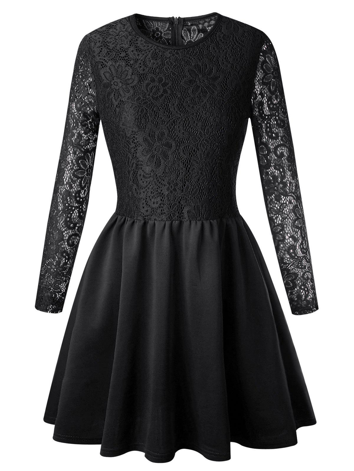 New Lace Long Sleeve Skater Dress