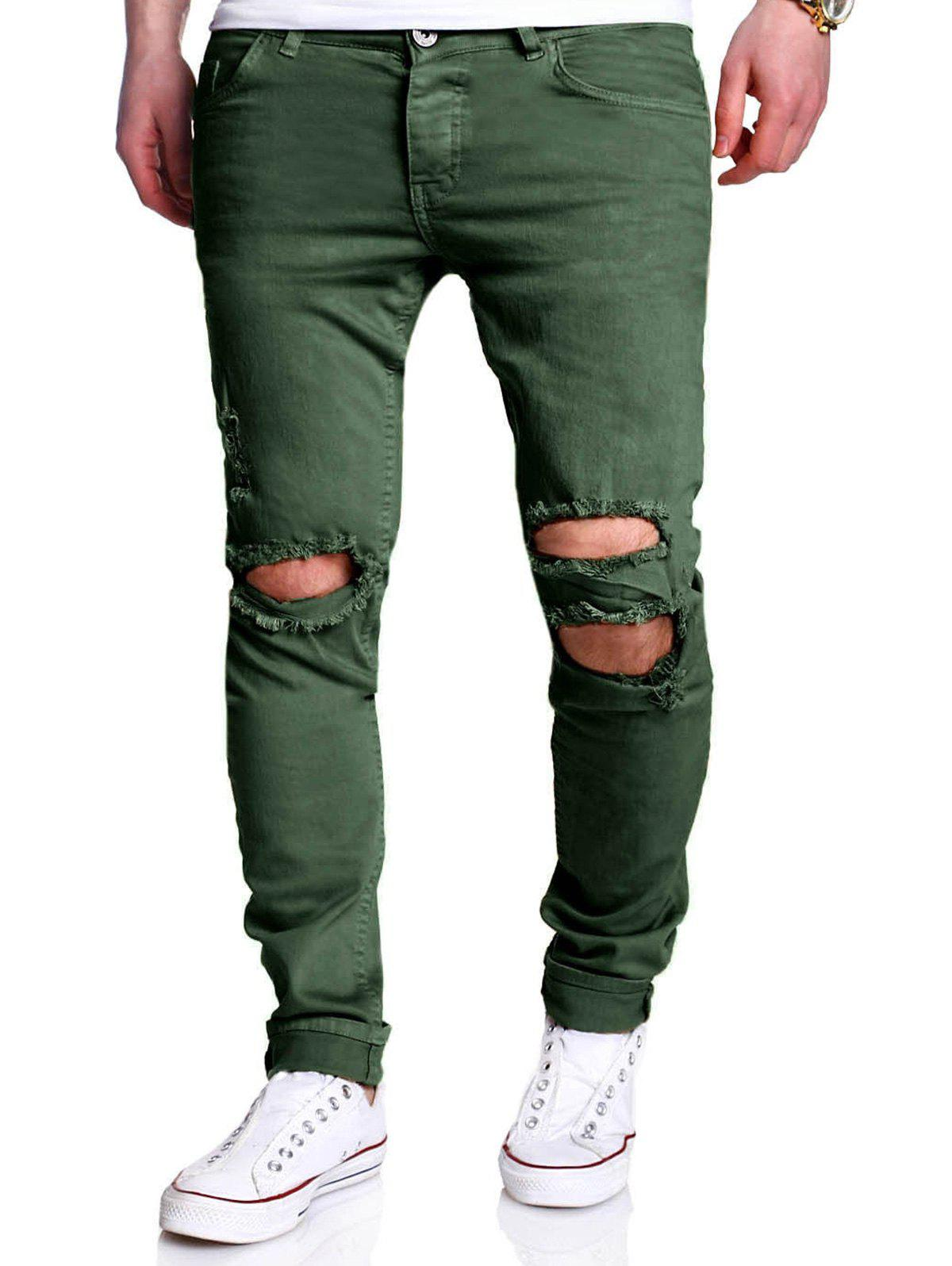 Unique Five-pocket Heavy Distressed Skinny Jeans