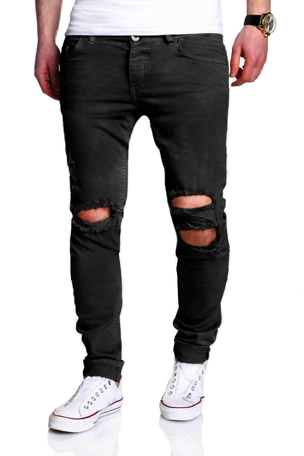 Online Five-pocket Heavy Distressed Skinny Jeans