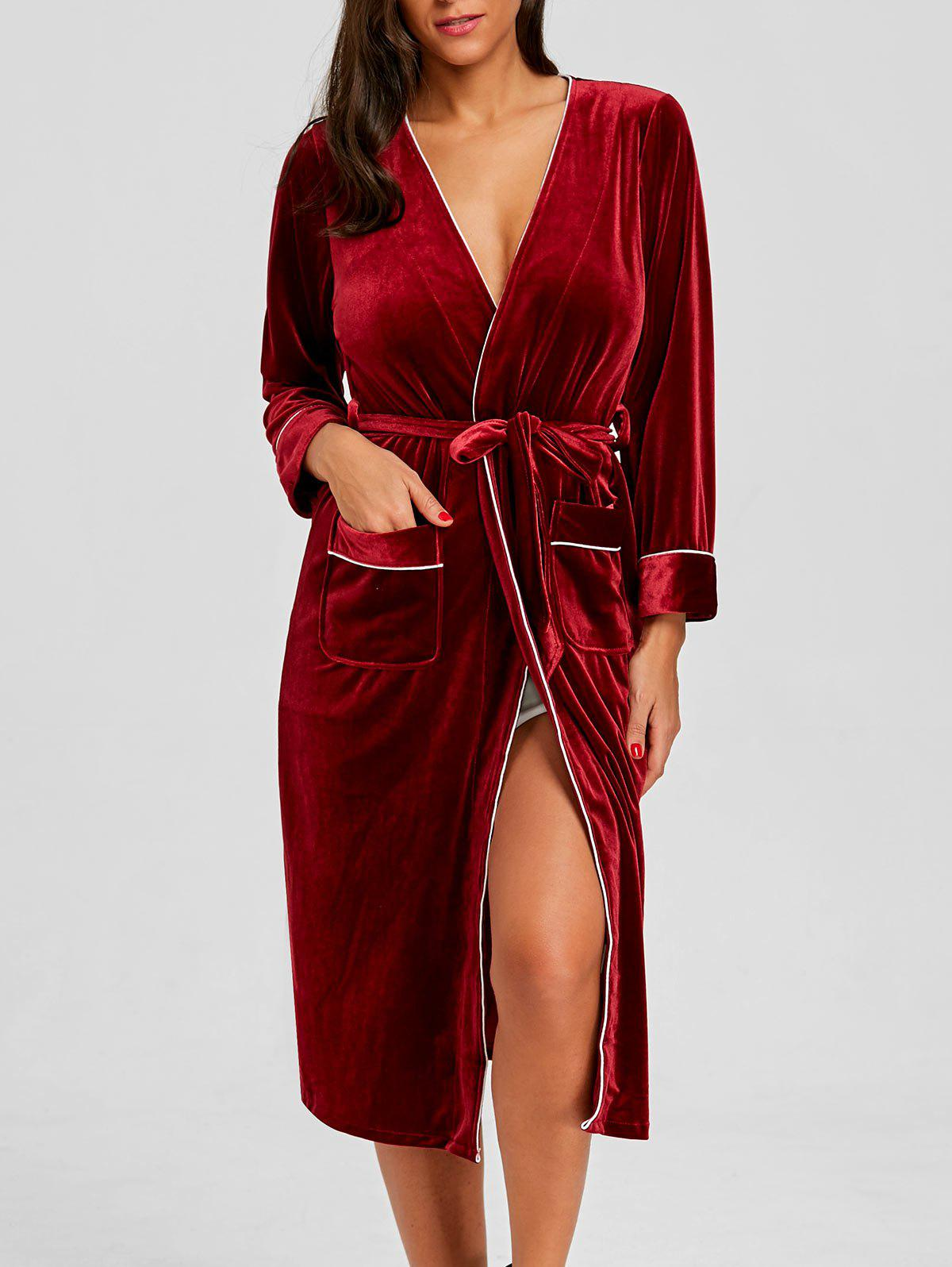 Discount Pockets Panel Velvet Sleeping Robe