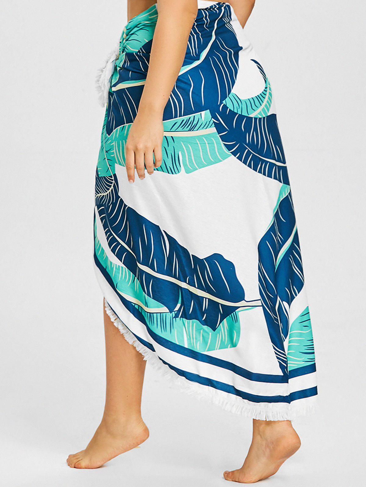 Online Palm Print Fringed Beach Throw