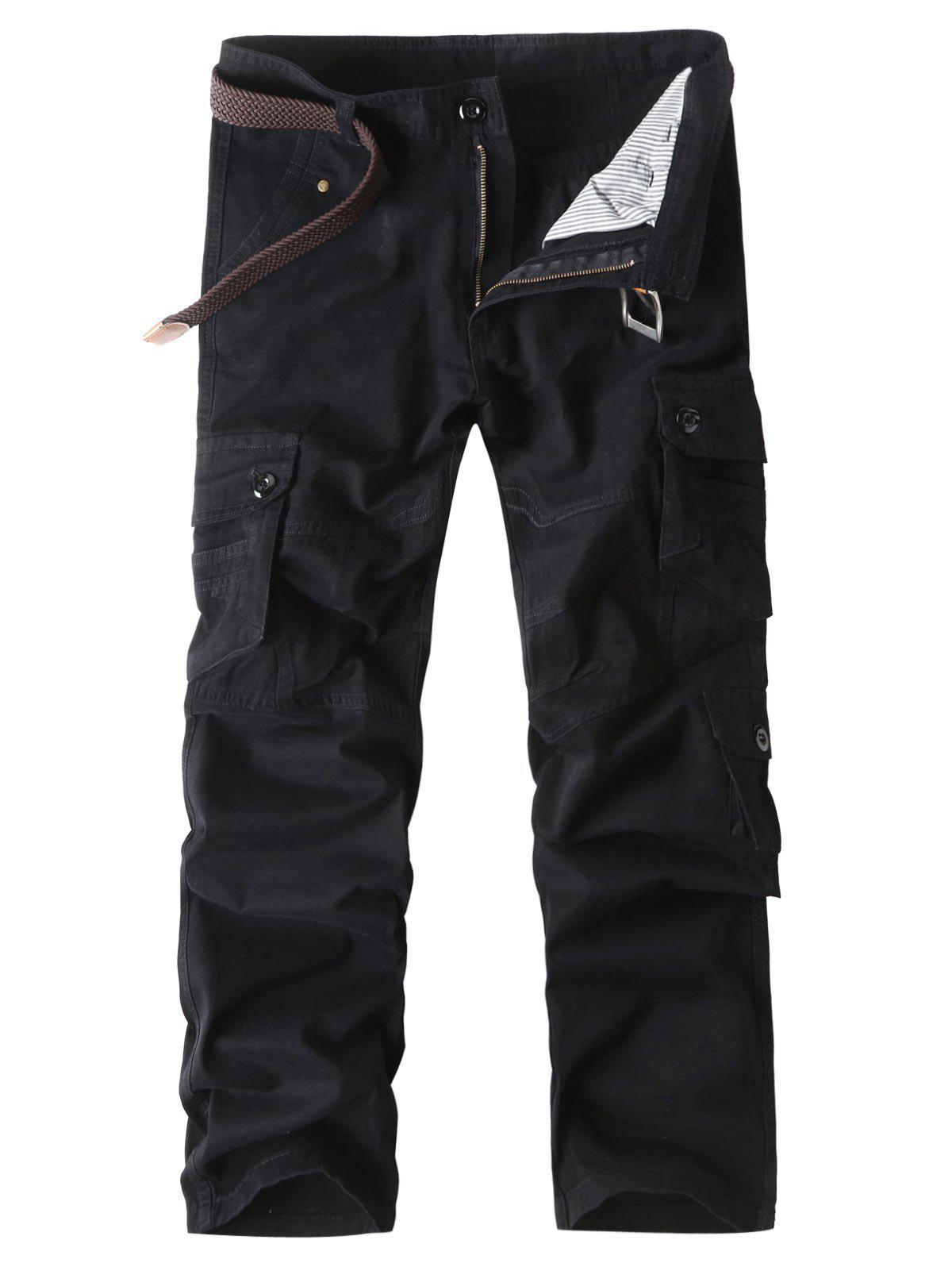 Discount Button Pockets Zip Fly Straight Cargo Pants