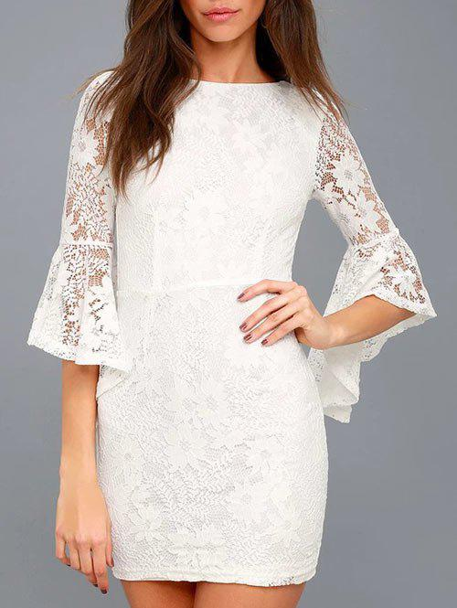 Unique Flare Sleeve Bodycon Lace Dress