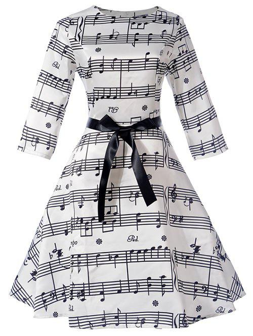 Trendy Music Note Bowknot Embellished Swing Dress