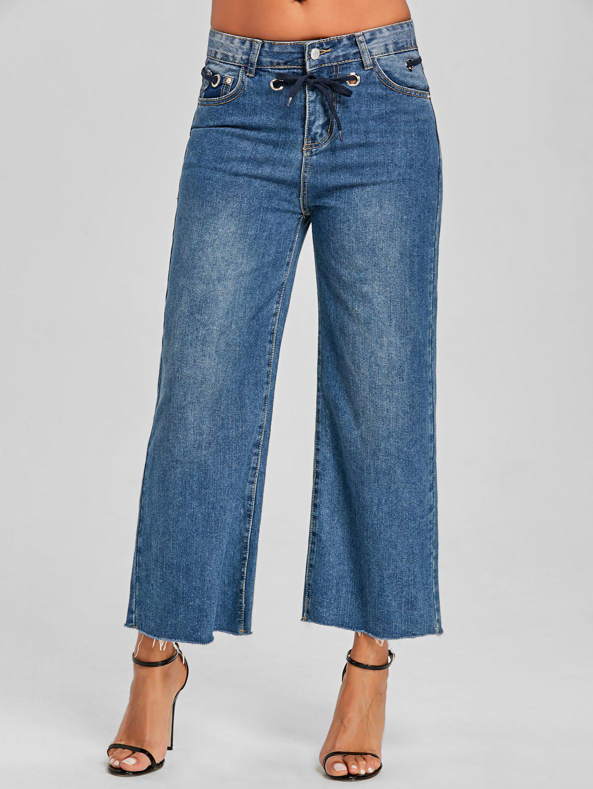 Fancy Tie Up Grommet Wide Leg Jeans