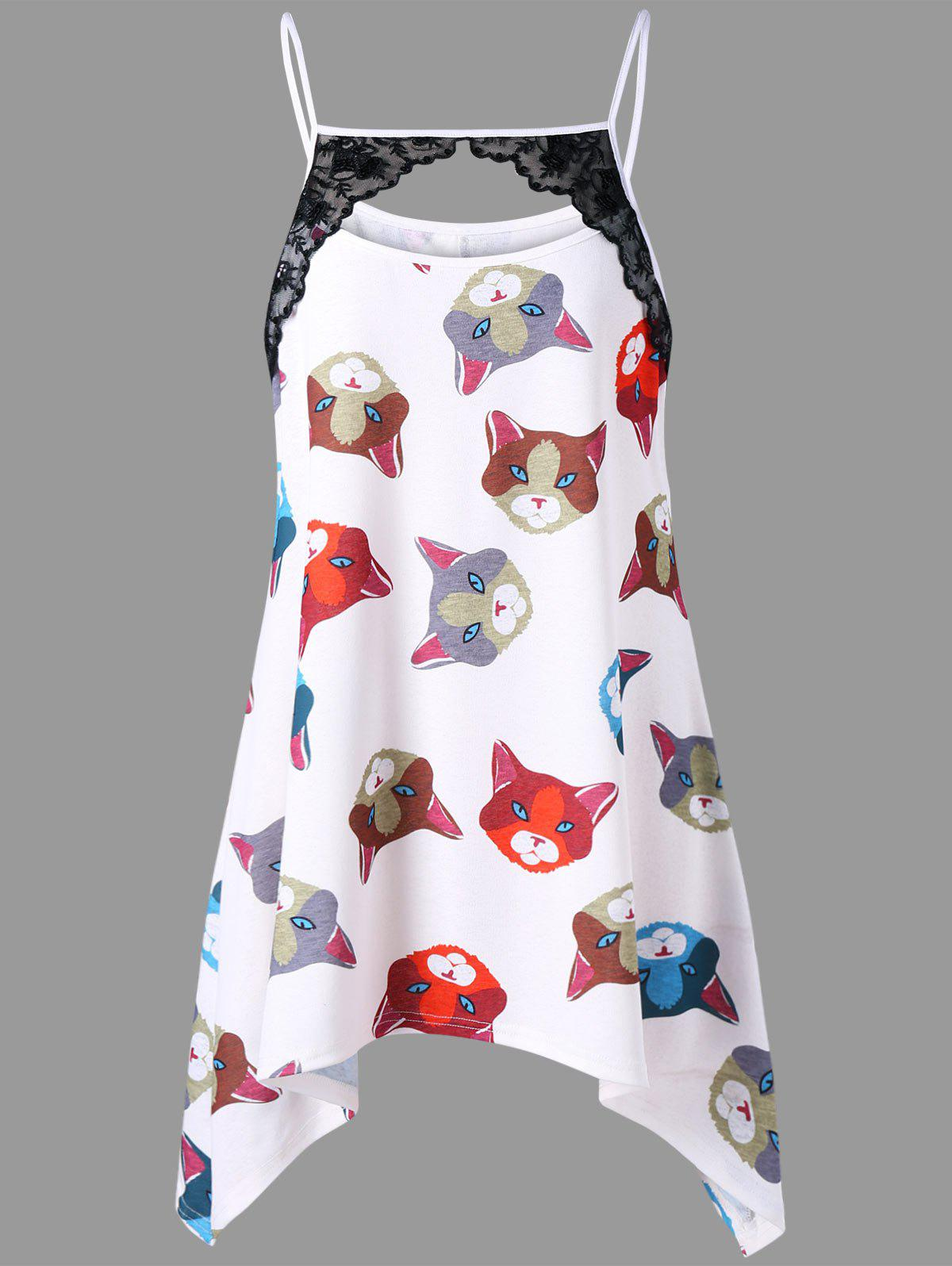 Online Plus Size Cat Print Crescent Hem Tank Top